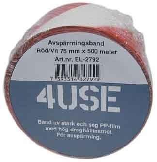 Absperrband rot/weiß 75 mm x 500 m