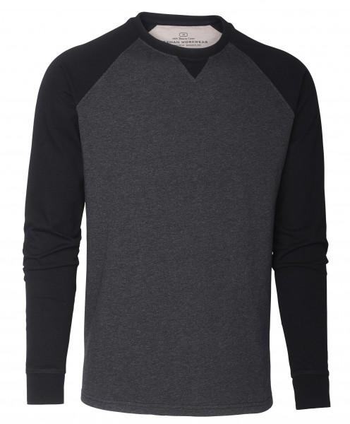 Wexman Langarm-Shirt Baumwolle grau/schwarz