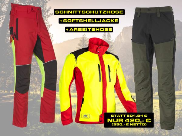 Top 3 Bekleidungsset: Schnittschutzhose, Softshelljacke & Arbeitshose
