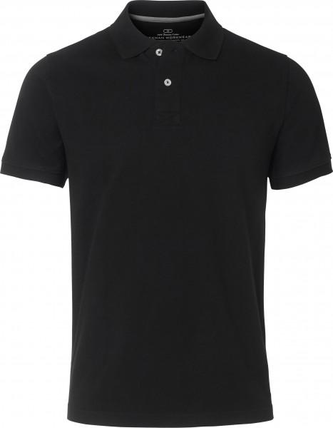 Wexman Poloshirt Baumwolle Pikee schwarz